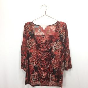 Dress Barn 18/20 Shirt Red Paisley Ruched Draped